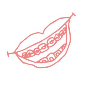 Illustration av en glad mun med tandställning