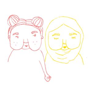 Illustration av två tjejer som håller varandra i handen.
